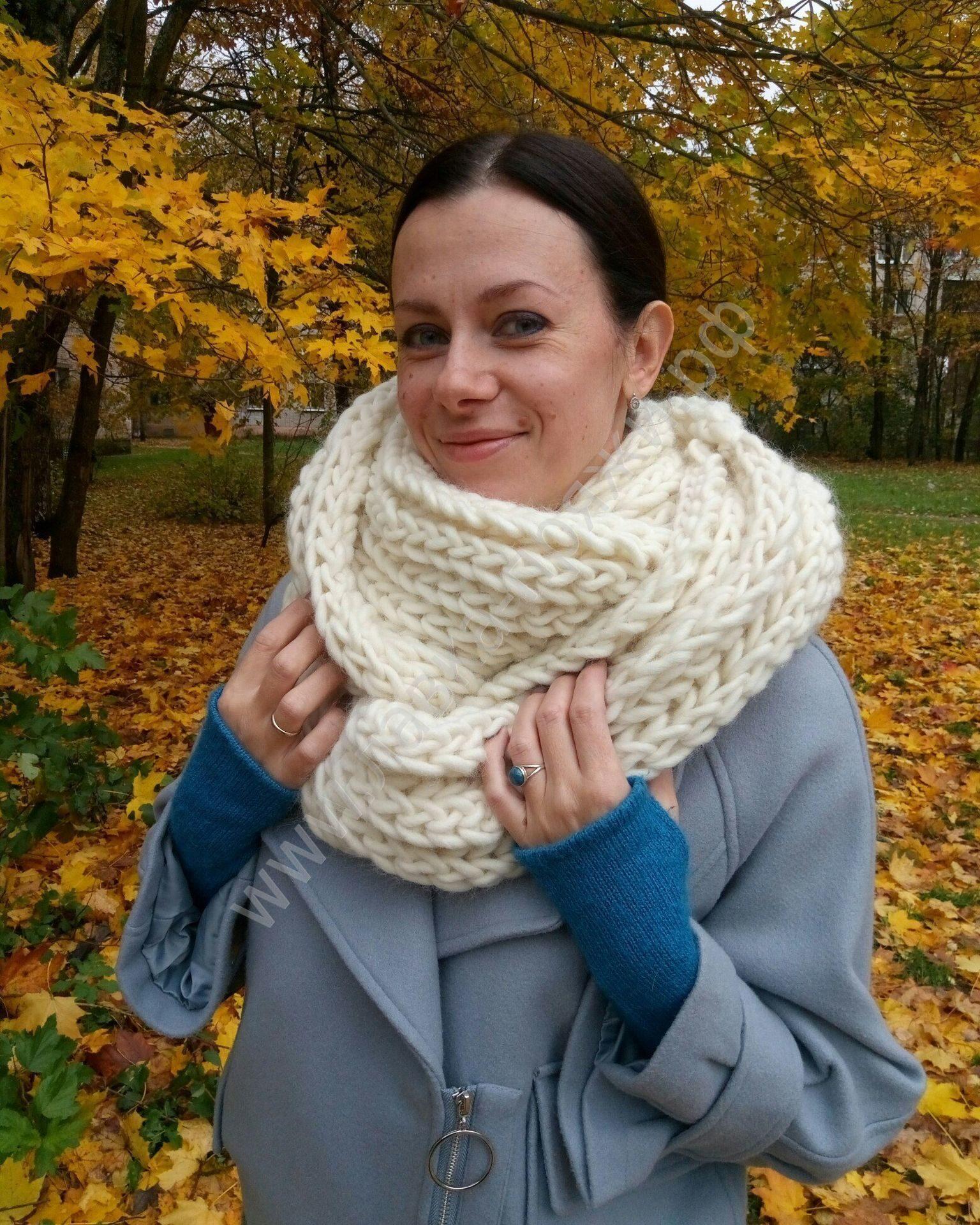 Как связать женский шарф снуд спицами для начинающих 35